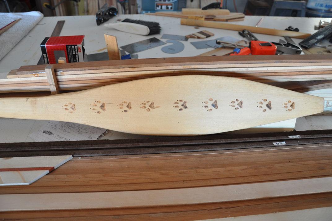 image of Woodburning on paddle blade