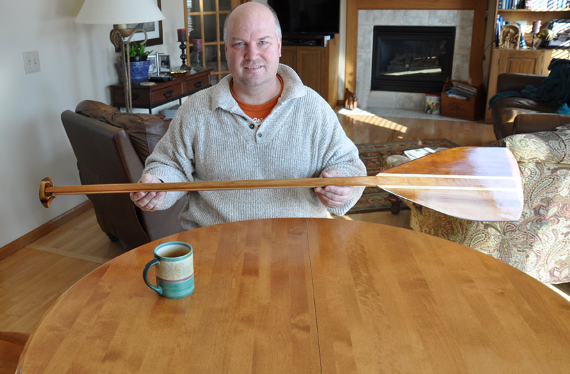 the wood canoe paddle built and written about in the book
