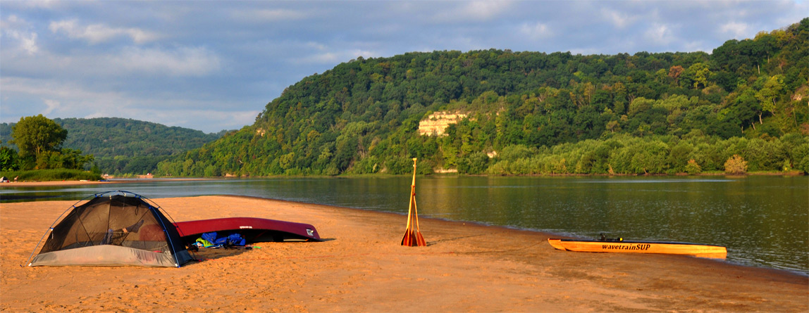 sandbar campsite across from Ferry Bluff on the Wisconsin River